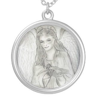 Peaceful Angel Silver Plated Necklace
