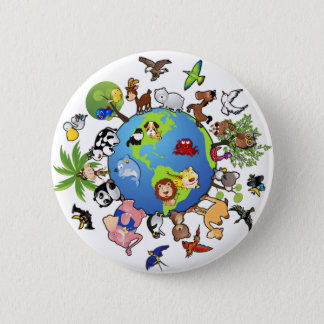 Peaceful Animal Kingdom - Animals Around the World 6 Cm Round Badge
