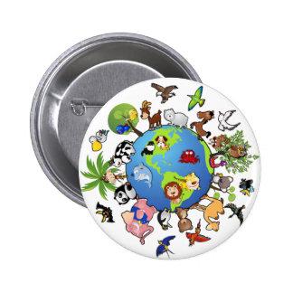 Peaceful Animal Kingdom - Animals Around the World 6 Cm Round Badge