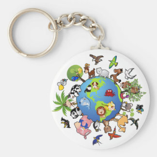 Peaceful Animal Kingdom - Animals Around the World Key Ring