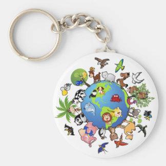 Peaceful Animal Kingdom - Animals Around the World Basic Round Button Key Ring