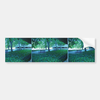 Peaceful Benches With Ground Cover Near Main Libra Bumper Sticker