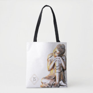Peaceful Buddha Monogram Tote Bag