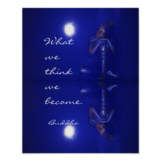 Peaceful Buddha sapphire blue reflection & quote Poster