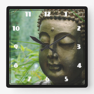 Peaceful Buddha Statue in a Leafy Green Forest Square Wall Clock