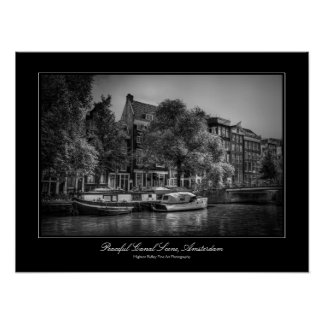 Peaceful Canal Scene, Amsterdam gallery-style Poster