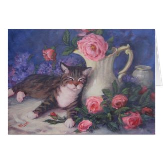 Peaceful Cat Pink Roses Card