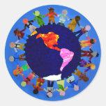 Peaceful Children Around World Sticker: