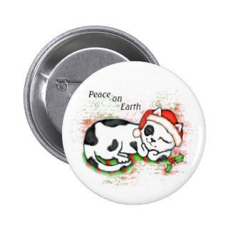 Peaceful Christmas Cat / Kitten Button