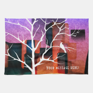 Peaceful City Park Dove Collage Tea Towel