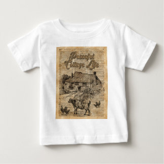 Peaceful Cottage Life Vintage Dictionary Art Baby T-Shirt