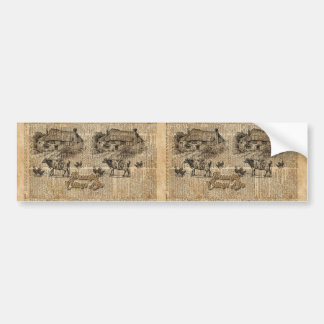 Peaceful Cottage Life Vintage Dictionary Art Bumper Sticker