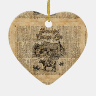 Peaceful Cottage Life Vintage Dictionary Art Ceramic Heart Decoration