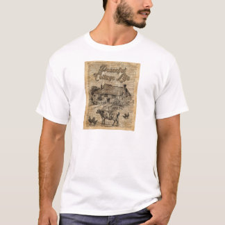 Peaceful Cottage Life Vintage Dictionary Art T-Shirt