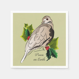 Peaceful Dove with holly and Ivy Disposable Serviettes