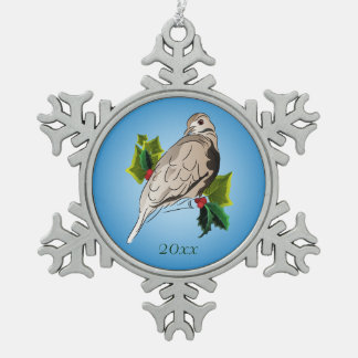 Peaceful Dove with holly and Ivy Snowflake Pewter Christmas Ornament