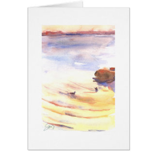Peaceful evening, 2 birds on a Puget Sound bay Greeting Card