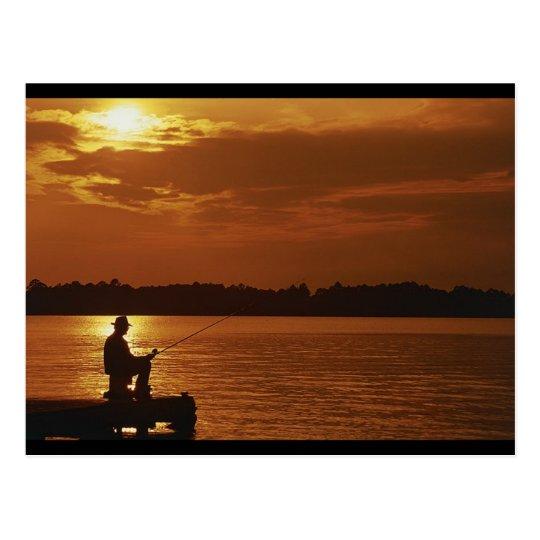 Peaceful Evening Angler Postcard