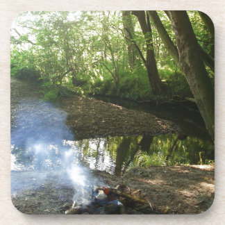 Peaceful Forest Scene With Camp Fire Beverage Coaster