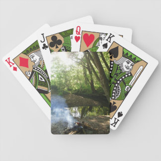 Peaceful Forest Scene With Camp Fire Bicycle Playing Cards