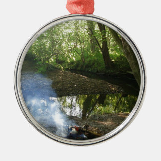 Peaceful Forest Scene With Camp Fire Christmas Ornament