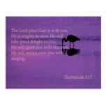 peaceful heron with Zephaniah 3:17