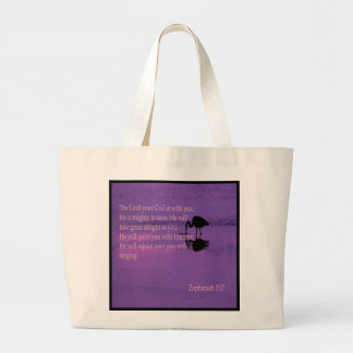 peaceful heron with Zephaniah 3:17 Jumbo Tote Bag