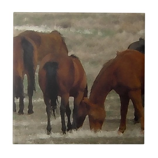 Peaceful Horse Herd Grazing Together Western Small Square Tile