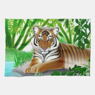 Peaceful Jungle Tiger Kitchen Towel
