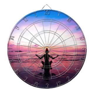 peaceful lady at sunset dart board