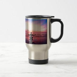 peaceful lady at sunset coffee mug