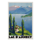 Peaceful Lake Annecy Vintage Retro France Travel Poster