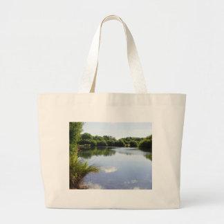 Peaceful lake large tote bag