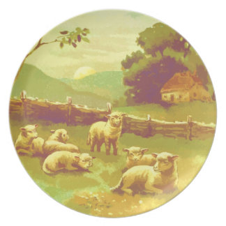 Peaceful Lambs In Country Pasture Plate