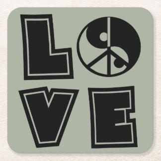 Peaceful Love Square Paper Coaster