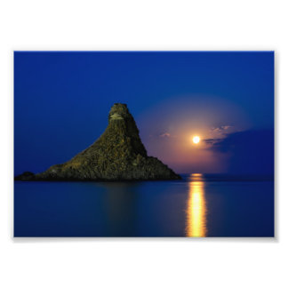 Peaceful moonlet evening sicily, italy photograph