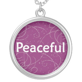 Peaceful on a Pink Pattern Round Pendant Necklace