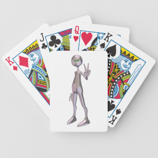 Peaceful Pink Alien Bicycle Playing Cards