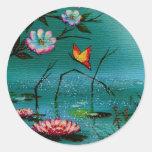 Peaceful Pond Round Stickers