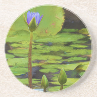 Peaceful Pond- Water Lily Sandstne Coaster