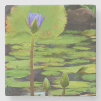 Peaceful Pond- Water Lily Stone Coasters Stone Beverage Coaster