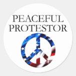 Peaceful Protestor Round Sticker