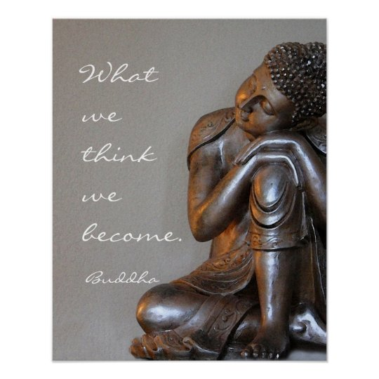 Peaceful resting silver Buddha words of wisdom Poster