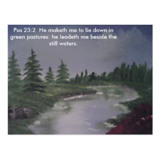 Peaceful RIver Ps. 23:2 Postcard