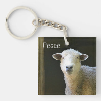 Peaceful Sheep Double-Sided Square Acrylic Key Ring