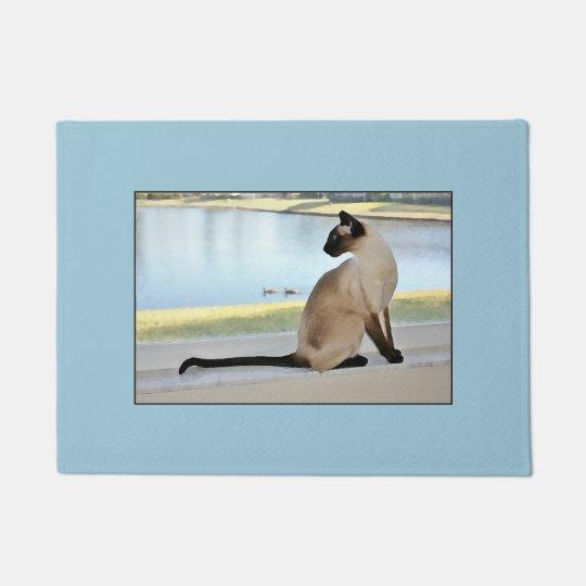 Peaceful Siamese Cat Painting Doormat