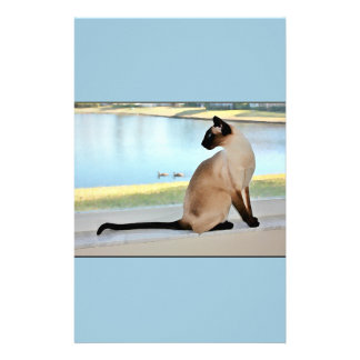 Peaceful Siamese Cat Painting Personalised Stationery
