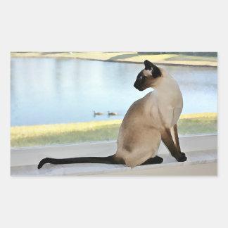 Peaceful Siamese Cat Painting Rectangular Sticker