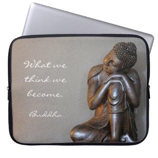 Peaceful silver Buddha Laptop Sleeve
