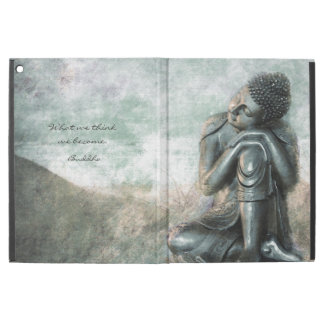 """Peaceful silver Buddha with inspirational quote iPad Pro 12.9"""" Case"""